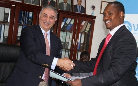 From left to right, Beyhan Nakiboglu – CEO of Culligan International EACA, and James Sano – CEO of WASAC (Water and Sanitation Corporation) at the signing of the contract to design and build a water treatment plant for the city of Kigali in Rwanda.