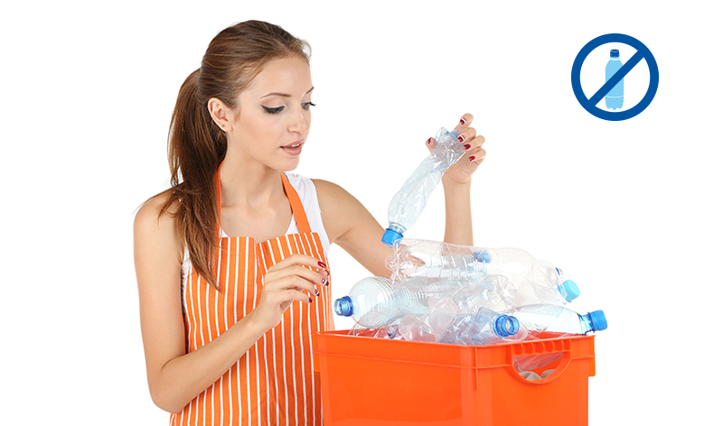 By avoiding using bottled water less fuel is used to manufacture bottles, reducing greenhouse gases, and less plastic bottles end up in landfills.